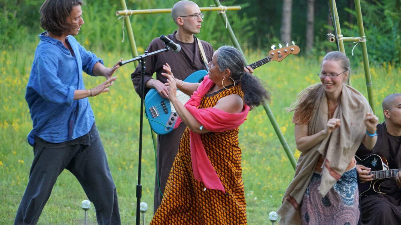 People dancing at retreat