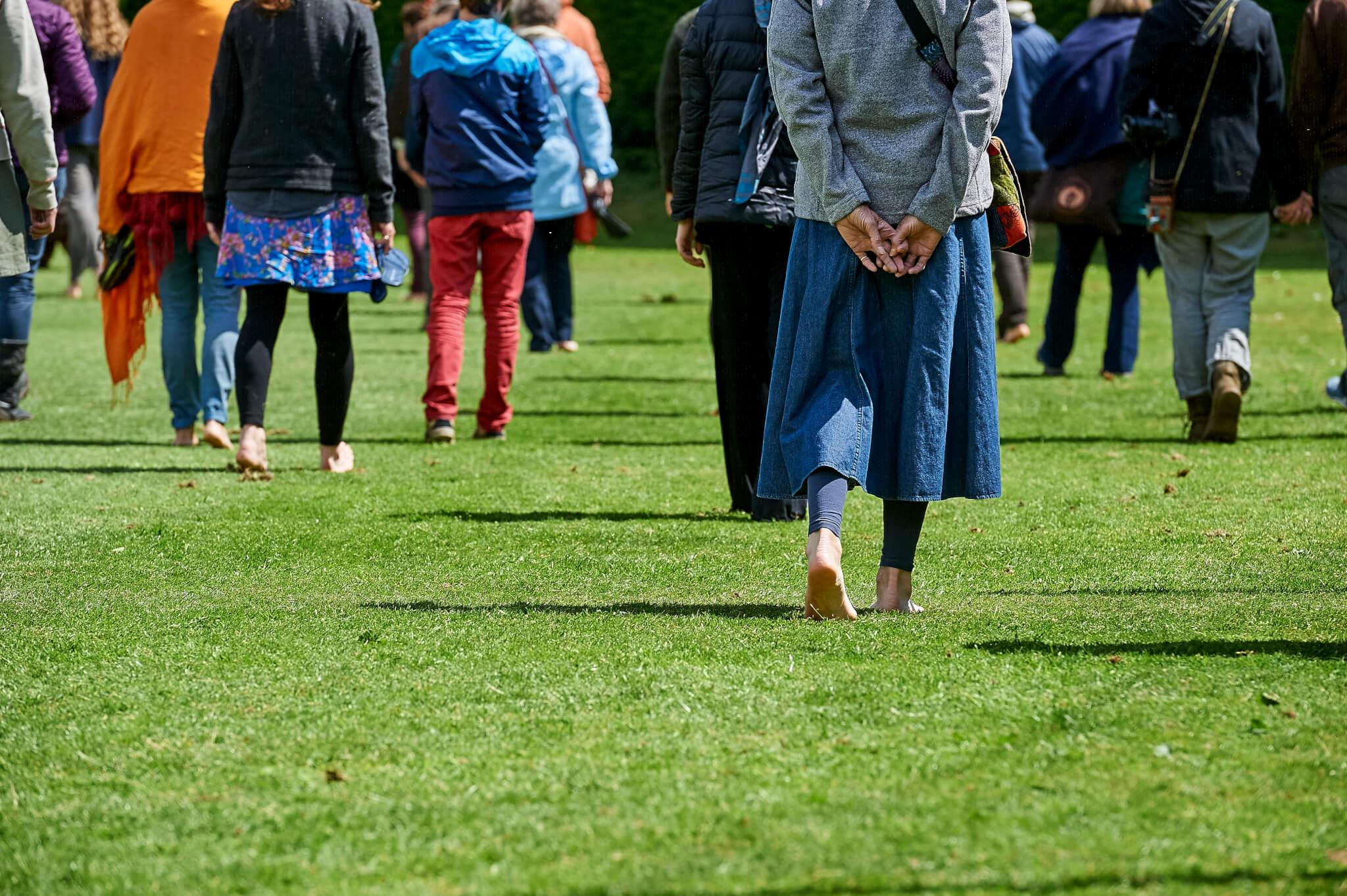 People practicing walking meditation