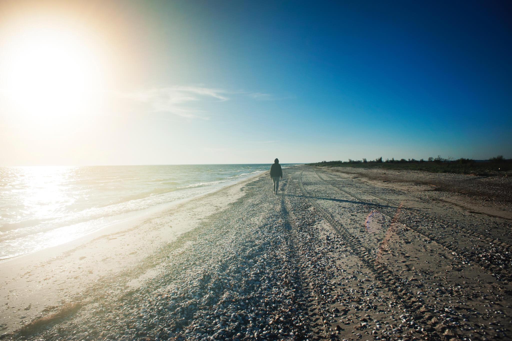 Person walking along beach