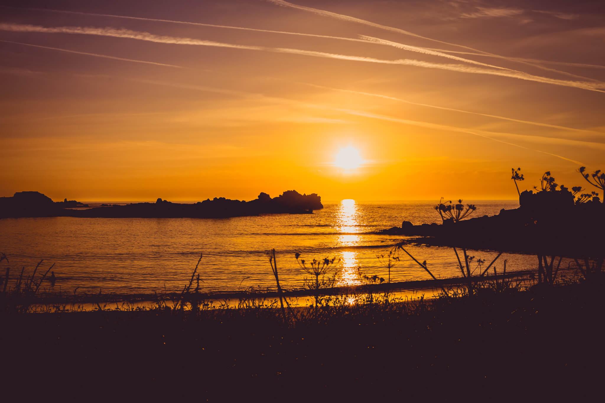 Sunset over seashore